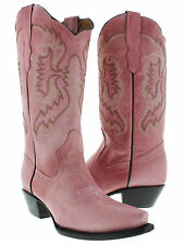 women's pink classic western leather cowboy boots rodeo cowgirl riding ladies