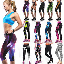 Women Sport High Waist Fitness Yoga Skinny Pant Printed Stretch Cropped Leggings