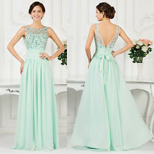 Long Crew Neck Evening Dresses Wedding Party Gown PROM Bridesmaid Ball Cocktail