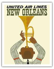 New Orleans Jazz Trumpet Player Vintage Airline Travel Art Poster Print Giclee
