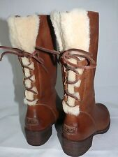 UGG Australia CARY WOOL Corset Lace Up Women's Boots Brown Whiskey Leather