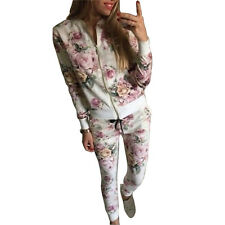 Floral Print Women Sweats Cardigan Pants Suit Casual Outwear Baseball Tracksuit