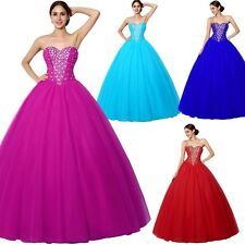 Women Beaded Long Red Quinceanera Ball Gowns Wedding Party Sweet 16 Prom Dresses