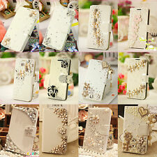 Luxury 3D Bling Handmade Pearl Crystals Diamond Case Cover For iPhone & Samsung