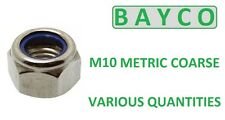 M10 - 10MM METRIC STAINLESS STEEL HEX NYLOC NUT A2 STAINLESS VARIOUS QTY'S