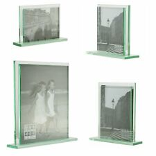 """Art Deco Style Double Sided heavy glass photo frames- two 6""""x4""""- 10""""x8"""" Pictures"""