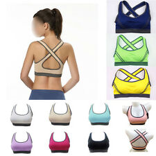New Womens Workout Tank Top Padded Seamless Racer back Fitness Yoga Sports Bra
