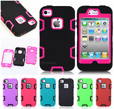 Color Hybrid Shockproof Dirt Proof Durable Case Cover For iPhone 4 4G 4S + Film
