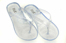 "WOMENS ""CLEAR"" GLITTER JELLY FLIP FLOP FLAT SANDALS SUMMER SHOES EVE"