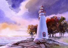 Marblehead Lighthouse Lake Erie Ohio Matted Watercolor Art Prints
