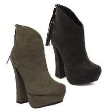 Black Taupe Ankle Boots Chunky High Heel Fringes Platform Women's Shoes