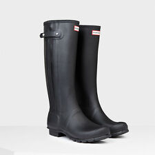 HUNTER WOMEN'S ORIGINAL SLIM ZIP  RAIN BOOTS BLACK