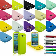 JELLY TPU GEL Plain Rubber Snap-on Skin Case For Samsung Galaxy S3 i9300 + Gifts