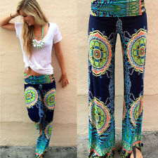 Lady Sexy Green Floral Casual High Waist Wide Leg Long Pants Palazzo Trousers AK