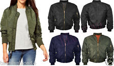 Womens Ladies Classic Padded Bomber Jacket Vintage Zip Up Biker Coat Stylish