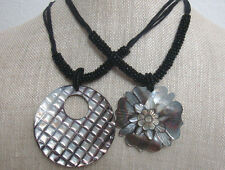 Glossed Abalone Shell Pendant W/ Seed Bead Black Necklace NEW