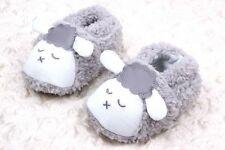 Baby Girls Or Boys Fluffy Grey White Sleepy Sheep  Pre Walkers Shoes  Slippers