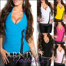 NEW SEXY LADIES HALTER V NECK TOP XXS XS S M L hot WOMEN'S SLEEVELESS WRAP SHIRT