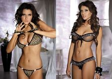 Seductive sexy BRA SET Negligee with String - Skirt and Leopard Ruffle Love