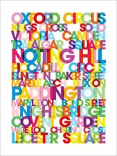 London Text Map, Contemporary Art Print Poster - s779