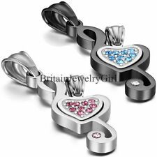 Bling Love Heart Musical Note His and Hers Stainless Steel Pendant Necklaces Set