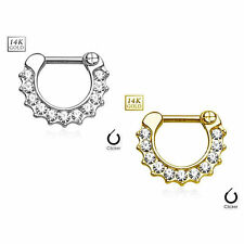 14Kt Gold Septum Clicker 16 gauge CZ Paved Round Single raw Yellow or White Gold