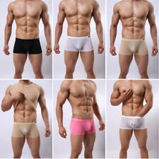 Mens Tight Smooth Fit Boxer Brief Shorts Classic Hipster Trunks Underwear M L XL