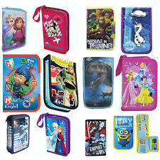Boys & Girls Official Disney Characters School Bag Stationary Filled Pencil Case