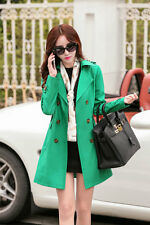 Women Fashion Double Breasted Lapel Slim Casual Long Trench Coat Jacket Outwear