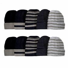 New Mens Women Unisex Beanie Stripe Skull Hat Cap Knit Winter Cuff Ski Fashion