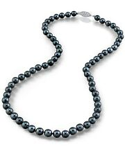 14K Gold 6.5-7.0mm Japanese Akoya Black Cultured Pearl Necklace - AA+ Quality