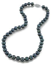 14K Gold 7.0-7.5mm Japanese Akoya Black Cultured Pearl Necklace - AA+ Quality