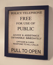 Doctor Who TARDIS Police Box Phone Door HANDMADE Framed Sign