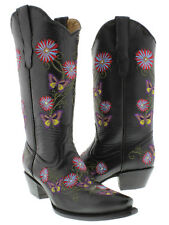 Women's  Black Butterfly Flowers Leather Western Cowboy Boots Rodeo Cowgirl