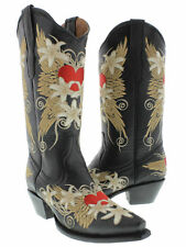 Women's Black Wings Heart Embroidered Western Leather Cowboy Cowgirl Boots Rodeo