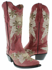 Women's Red Wings Heart Embroidered Western Leather Cowboy Cowgirl Boots Rodeo