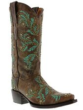 Women's Brown Turquoise Malaga Western Leather Cowboy Boots Cowgirl Rodeo Studs