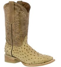 Mens Beige Ostrich Quill Western Cowboy Leather Boots Rodeo Square Exotic Riding