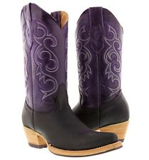 women's black purple western leather cowboy boots rodeo cowgirl country riding