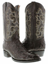 Mens Brown Crocodile Alligator Back Cut Western Cowboy Leather Boots Rodeo