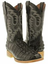 mens black crocodile alligator tail leather western cowboy boots riding square