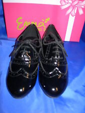 Girls School Work Shoes Brogue Flat Lace COLA Black Patent Sizes 10-2 Available