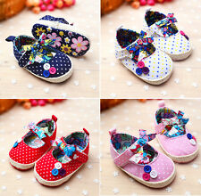 Colorful Girl Baby Polka Dot Bowknot Crib Shoes Infant Soft Sole Toddler Shoes