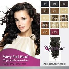 Wavy Clip in Human Hair Extensions, Full Head