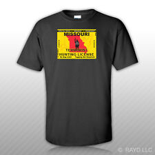 Missouri Terrorist Hunting Permit T-Shirt Tee Shirt Free Sticker License MO