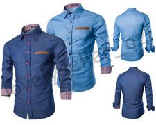 Fashion Men Slim Washed Denim Shirt Long Sleeve Casual Long Shirt Button up Tops