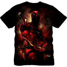 Marvel Comics Deadpool Assassin X-Men Full Front Print shirt  XMEN X Force Cable