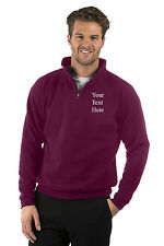 Embroidered Mens/Ladies Quarter Zip Sweat Jacket,Size XS to XXXL,Colour Burgundy