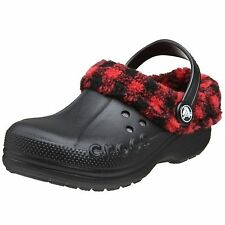 "New!  Unisex Junior Crocs- ""Blitzen Lumberjack"" Clog in Black/Red Plaid  C49"