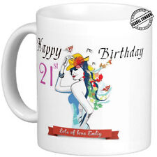 Personalised HAPPY 21ST BIRTHDAY MUG . Can add any Name &Text free IL -  2040